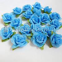 Головка розы, голубой, 3 см