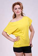 """Модная женская футболка """"Хулиганка"""",  однотон желтая"""