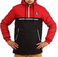 Куртка короткая мужская зимняя анорак Ястребь Красно-черный, фото 1