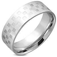 Кольцо из стали с шахматным узором, в наличии  18.0, 19.0, 20.0, 20.7, 21.5, 22.3