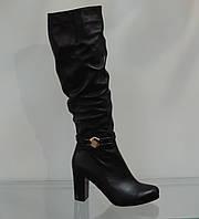 Сапожки женские на каблуке кожаные