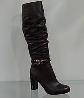 Сапожки женские на каблуке кожаные коричневые