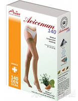 Чулки Aries Avicenum с кружевом, закрытый носок, бежевый, 140 ден, 3