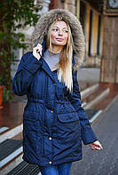Женская демисезонная куртка-парка с натуральным мехом на капюшоне