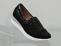 Модные женские кроссовки со стразами натуральная замша