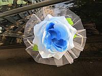 Голубые цветы на ручки свадебной машины 4 шт/уп (165)