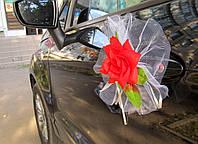 Красные цветы на ручки свадебной машины 4 шт/уп (166)