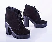 Женские замшевые ботинки на шнуровке, черные