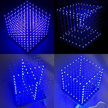 Светодиодный куб 3D LED синий квадрат электронный