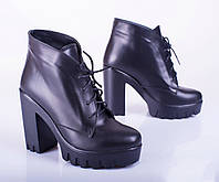 Женские кожаные ботинки на шнуровке, черные