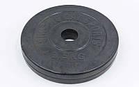 Блины (диски) обрезиненные отв. d-30мм ТА-1442 2,5кг (металл, резина, черный)