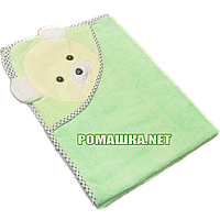 Детское махровое уголок-полотенце для новорожденных после купания, 85х85 см, 100% хлопок 3202 Зеленый