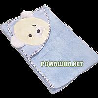 Детское махровое уголок-полотенце для новорожденных после купания, 85х85 см, 100% хлопок 3202 Голубой