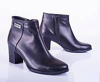 Женские кожаные ботинки на низком каблуке, черные