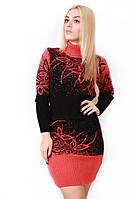 Вязаное платье большого размера Цветы 595 р 48-54
