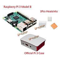 3в1 Raspberry Pi 3 модели B + официальный случай + теплоотводы множества