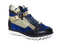 Женские кроссовки-сникерсы кожа-замша со звездой (синие)