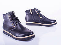 Женские кожаные ботинки на плоской подошве, весна-осень
