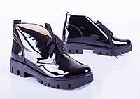 Женские лаковые ботинки на плоской подошве, весна-осень