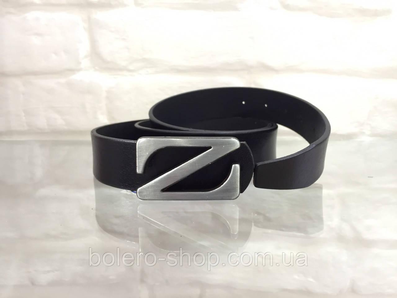 Кожаный мужской пояс черный Z