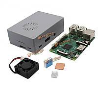 Деталь корпуса + алюминиевый радиатор медный радиатор + Raspberry комплект вентилятор охлаждения мини Model B 4 в 1 ABS + серый ABS пи 3