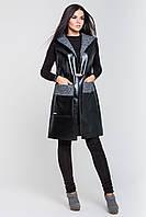 Удлиненный женский кожаный жилет | черный-серый