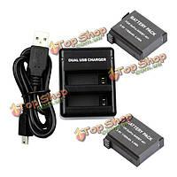2шт 3.8V 1160мАh аккумулятор Двойной USB зарядное устройство для GoPro Hero 4 ahdbt-401