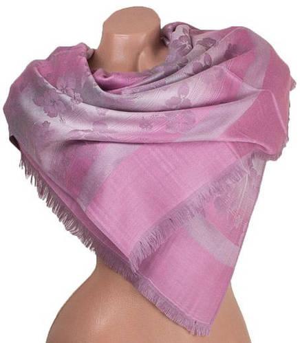 Нежный женский двусторонний палантин из пашмины 179 на 72 см ETERNO ES0206-21-1 розовый