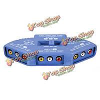 Синий 3-х полосная порт аудио-видео AV RCA с переключателем селектора коробки сплиттер