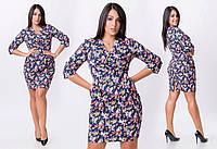 """Стильное платье """"Джинс Принт"""" в больших размерах (30-8030)"""