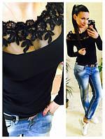 Женская стильная кофта с гипюром цвет черный