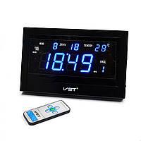 Часы сетевые VST 771 Т-5 говорящие черные, пульт ДУ (электронные часы настольные, настенные)