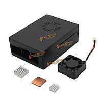 Деталь корпуса корпус + алюминиевый радиатор медный радиатор + ABS мини-активный вентилятор охлаждения для ABS 3 в 1 черный Raspberry только плата Mod