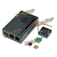 Кейс корпус коробка с мини-вентилятор охлаждения и комплект для радиатора ABS черный Raspberry пи 3b