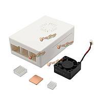 Деталь корпуса корпус + алюминиевый радиатор медный радиатор + ABS мини-активный вентилятор охлаждения для ABS 3 в 1 белый Raspberry только плата