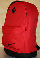 Спортивный городской рюкзак Nike с кожаным дном красный черный