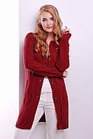 Женский вязаный кардиган бордового цвета, фото 1