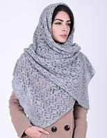 Теплая женская шаль 3068 (серый)
