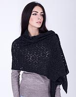 Мягкая ажурная женская шаль 3068 (антрацит)