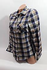 Женские рубашки в клетку оптом VSA синий-беж, фото 3