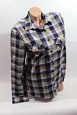 Женские рубашки в клетку оптом VSA синий-беж, фото 2