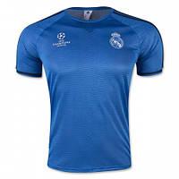Футболка Реала тренировочная (поло), голубая, без пуговиц (Лига Чемпионов), фото 1