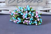 """Добавка """"сложные тычинки микс """"  около 144 шт/уп цвета """"нежно-розовый + голубой + зеленый"""" оптом"""