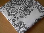 Лоскут ткани №262 бязь с серыми цветами на белом фоне, фото 2