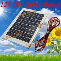 12v 5w 25.5 х 19 х 1.5см поликристаллических клетки панели солнечных батарей с аллигатора зажимом провода