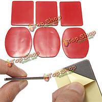 6шт красный стикер 3м клейкой прокладки набор для GoPro Hero крепление шлема липкие