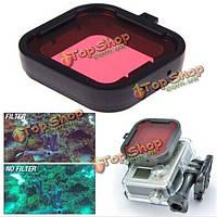 Поляризатор красного цвета подводного плавания UV фильтра объектива для GoPro hero3+