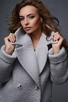 Теплое Модное Зимнее Пальто Букле Серое