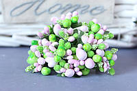 """Добавка """"сложные тычинки микс """"  около 144 шт/уп цвета """"нежно-розовый + салатовый"""" оптом"""