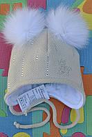 Зимняя шапочка утепленная  с меховыми помпонами., фото 1